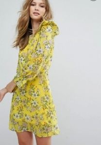 Vero Moda Jenna  Empire Yellow Flower Dress